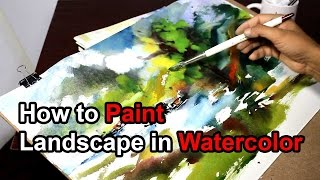 How to Paint Landscape in Watercolor !!! Tutorial