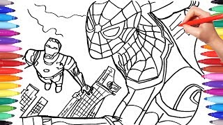 SPIDER MAN and IRON MAN Coloring pages | Drawing Coloring Superheroes Coloring Book for Kids