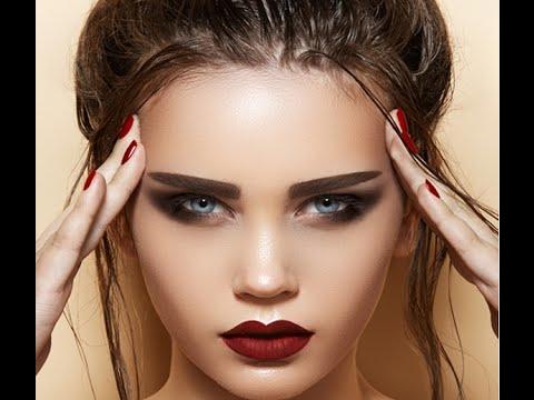 Вечерний макияж с темной помадой