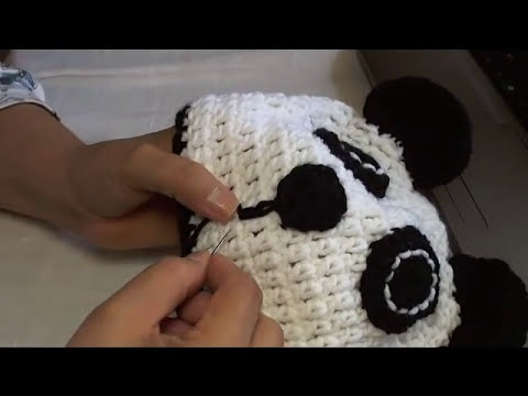 how to crochet a panda beanie - video 3
