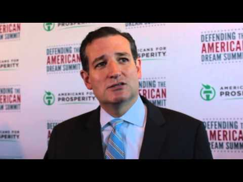 Ted Cruz addresses the press at the AFP Defending the Dream summit