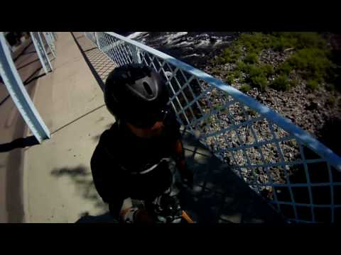 Electric skateboard over waterfalls