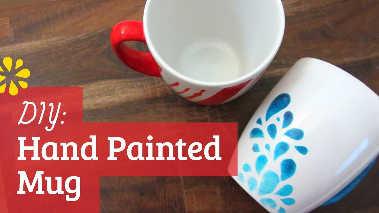 Diy hand painted mug youtube for How to make ceramic painting