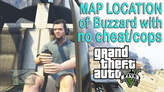 GTA V (5) Secret Hidden Map Location, ATTACK HELICOPTER. Easy How to No cheat/cops. Buzzard.