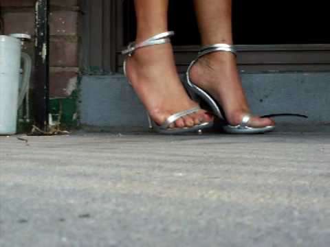 Crossdresser in Silver High Heels