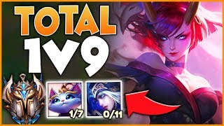 #1 EVELYNN WORLD ATTEMPTS TO CARRY 4 FEEDERS (LITERAL 1V9) - League of Legends