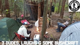 Camping with friends at bushcraft shelter, Watagans NSW