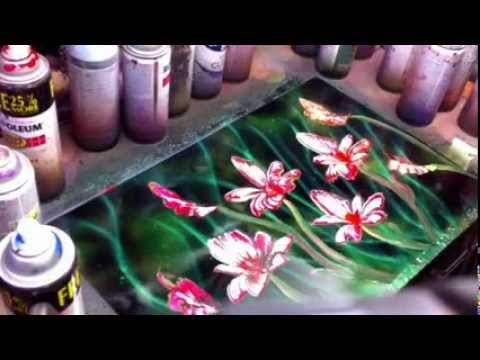 Spray paint art flower