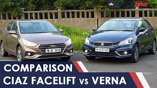 Maruti Suzuki Ciaz Facelift vs Hyundai Verna Comparison Review | NDTV carandbike