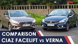 Maruti Suzuki Ciaz Facelift vs Hyundai Verna Comparison Review | NDTV carandbike