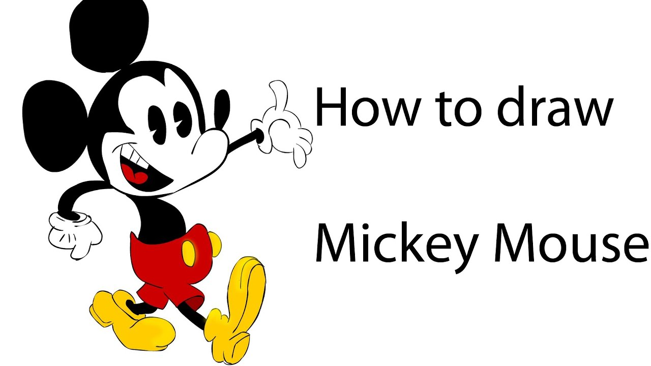 How to draw mickey mouse coloring step by step youtube for How to draw with a mouse