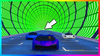GTA 5 DLC BRAND NEW IMPOSSIBLE CUSTOM STUNT RACES - NEVER ENDING EXTREME TURBO TUNNEL & MORE!