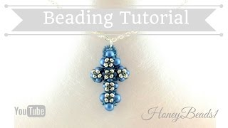 Little Cross Pendant Beading Tutorial by HoneyBeads1