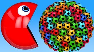 Learn Colors with PACMAN and Farm 3D Soccer Ball for Kid Children