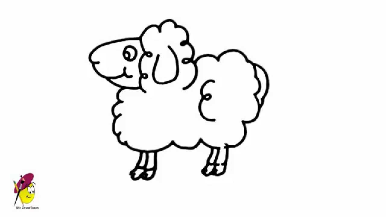 Sheep - Farm Animals - Easy Drawing - how to draw a sheep - YouTube