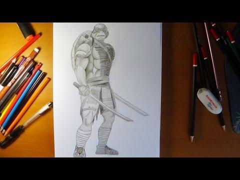 How to draw ninja turtles Leonardo from movie 2014