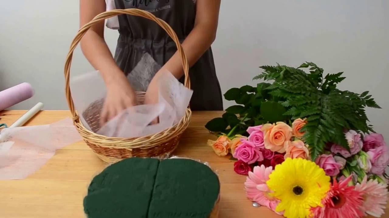 Как сделать дома корзину с цветами