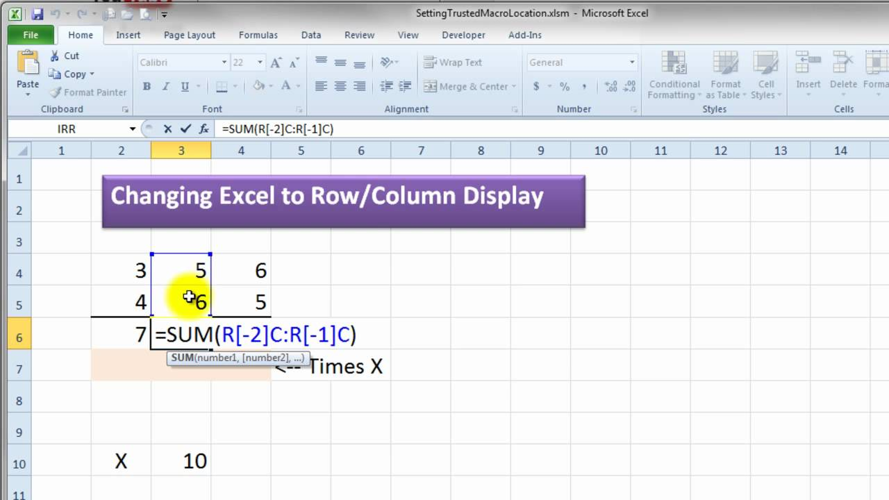 Excel Column Numbers Not Letters