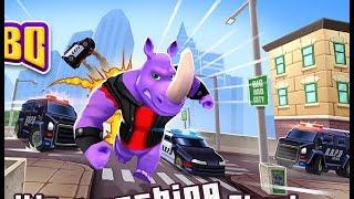 Chơi Rhinbo chú tê giác ủi xe cảnh sát chạy lụm vàng cu lỳ chơi game lồng tiếng vui nhộn