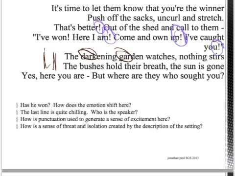 analysis of the poem hide and Powerpoint to aid teaching of the poem by vernon scannell.