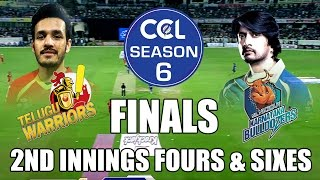 CCL6 Finals- Telugu Warriors VS Karnataka Buldozers || 2nd Innings Fours & Sixes