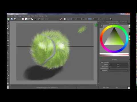 Digital painting with Krita software : How to paint a tennis ball