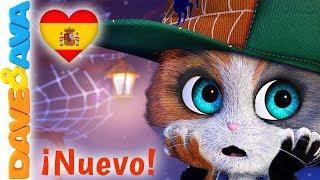 😈 Cinco Gatitos - Canciónes de Halloween | Canciones Infantiles de Dave y Ava 😈