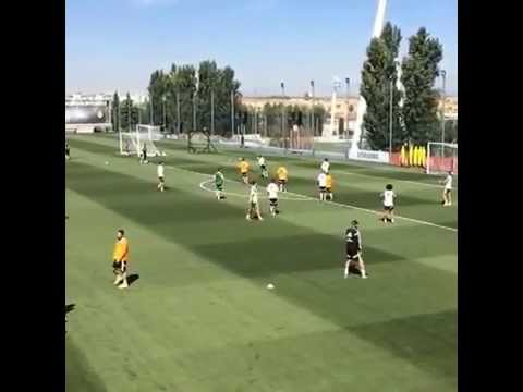 Luka Modric Scores a Screamer During Real Madrid Training Session