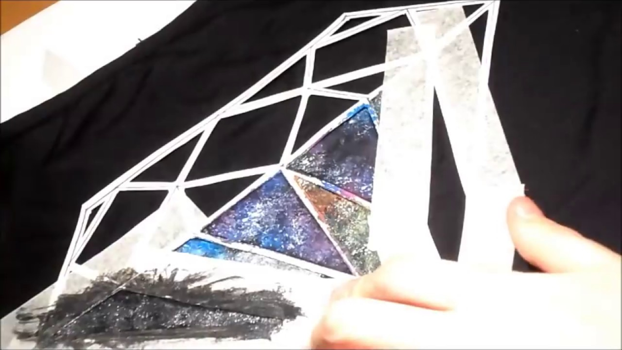 diy paint a galaxy colorful diamond on your tshirt youtube