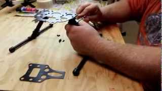 Installing carbon fiber landing gear on DJI Phantom with Brushless gimbal mount.