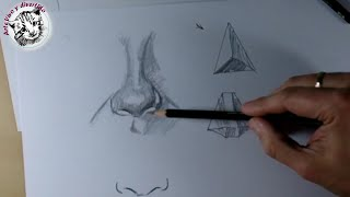 Dibujo Artistico: Dibujar una Nariz realista y facil: How to draw Nose.