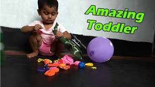 Funny Toddler Playing Balloons Learn Color & Baby Game Show
