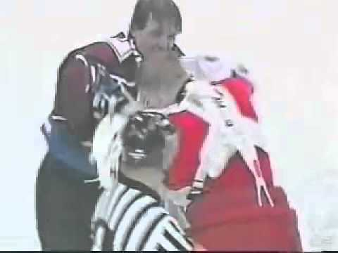 Chris Osgood (Detroit Red Wings) vs. Patrick Roy (Colorado Avalanche) goalie fight