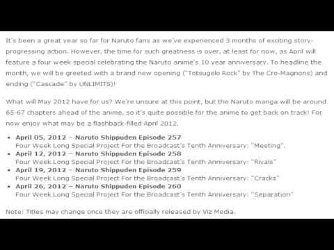 Naruto Shippuden: April 2012 Schedule (Filler Time) thumbnail