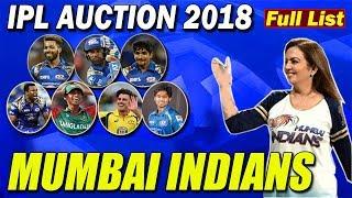 FINAL FULL LIST OF MUMBAI INDIANS TEAM | MUMBAI INDIANS TEAM LIST  IPL 2018 | FULL LIST OF IPL TEAMS