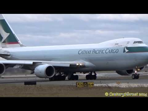 RARE DAYTIME TAKEOFF: Cathay Pacific Cargo Boeing 747-8F @ Toronto Pearson Int'l December 28, 2014