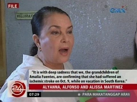 24Oras: Kaanak ni Amalia Fuentes, nanawagan ng panalangin para sa paggaling ng na-stroke na aktres