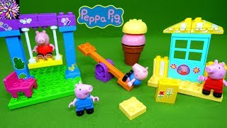 Peppa Pig and George Building Blocks Toys Playground Ice Cream Shop Constructin Play Set for Kids