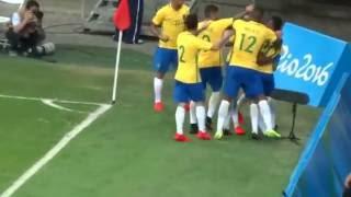 Olimpíadas Rio 2016 Brasil 4 x 0 Dinamarca gol de Luan