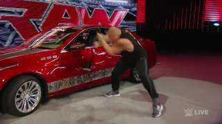 Brock Lesnar destroys J&J Security's prized Cadillac  Raw, July 6, 2015 HD