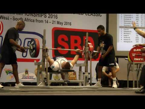 Sami Pullinen 220 kg, World Bench Press Championships 2016 Potchefstroom