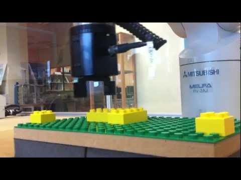 Industrial Robot arms playing with Duplo blocks V2 (RV-2AJ)