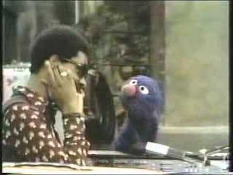 Grover and Stevie Wonder on Sesame Street, 1973
