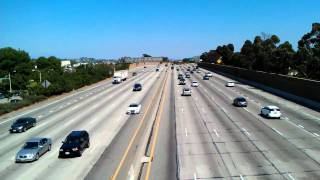 view from pedestrian overpass on the 60 freeway