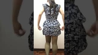 Crossdresser cute dress black sheer pantyhose