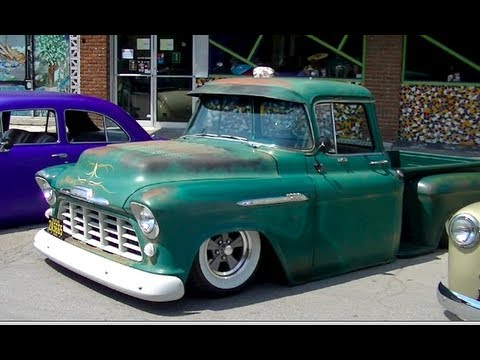 Dallas Car Show >> Bagged 1956 Chevy Truck | Ratrod Patina Wide White Walls - YouTube