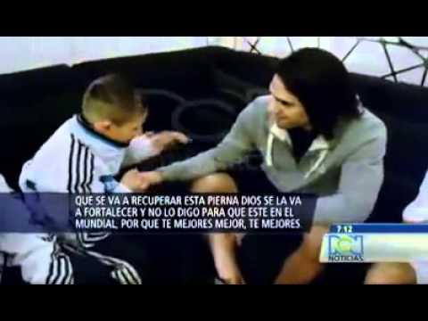Radamel Falcao lloró con emocionantes palabras de un niño de 12 años