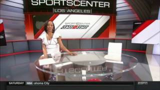 Cari Champion in Stockings, Legs Crossed, Oiled Legs, Legs Wide Open, Cleavage | ESPN