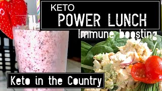 Crunchy Chicken Salad & Strawberry Smoothie Keto/LowCarb Lunch
