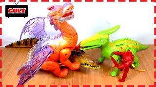 Đồ chơi Khủng Long bay 2 sừng có cánh và con cá sấu biết đi dinosaur toy for kids